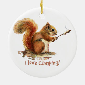 BORN TO GO CAMPING Fun Squirrel Cute Animal Quote Ceramic Ornament