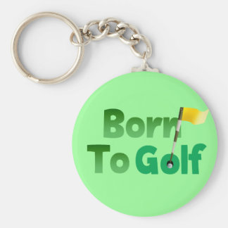 Born To Golf Basic Round Button Keychain