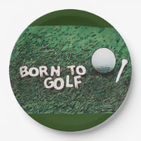 Born to golf with golf ball and tee paper plate