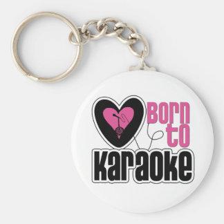 Born to Karaoke Heart Basic Round Button Keychain