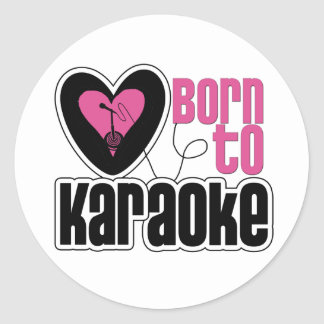 Born to Karaoke Heart Classic Round Sticker