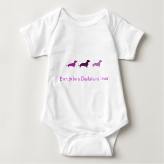 Born to love Dachshunds-Purple Baby Bodysuit