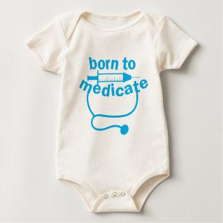 BORN TO MEDICATE doctors stethoscope funny Baby Bodysuit