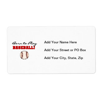 Born to Play Baseball T-shirts and Gifts Shipping Label