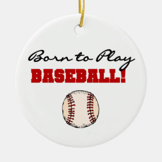 Born to Play Baseball T-shirts and Gifts Double-Sided Ceramic Round Christmas Ornament