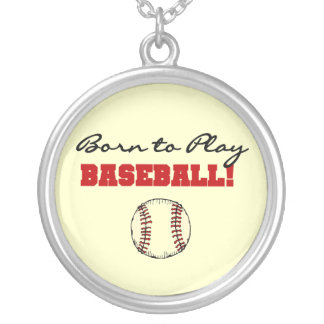 Born to Play Baseball T-shirts and Gifts Round Pendant Necklace