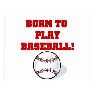 Born to Play Baseball Tshirts and Gifts Postcard
