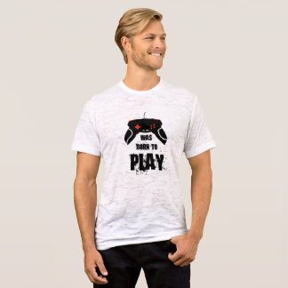 Born to Play Canvas Fitted Burnout T-Shirt, White T-Shirt