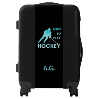 Born to play hockey luggage initials frozen blue