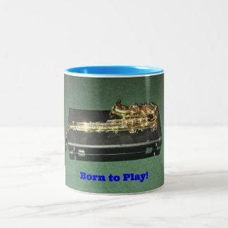 Born to Play (Saxaphone) Two-Tone Coffee Mug