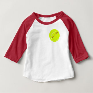 Born to play, with tennis ball, baby raglan tee