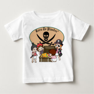 Born To Plunder - Baby Girl Pirates & Treasure Baby T-Shirt