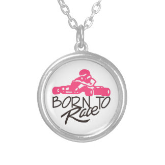 Born To Race Round Pendant Necklace