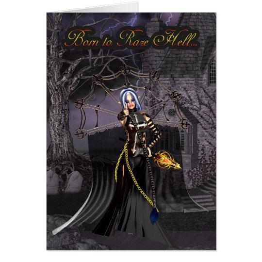 Born to Raze Hell Birthday Gothic Greeting Card