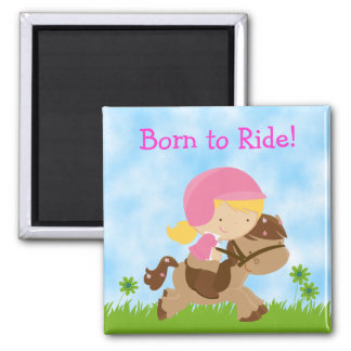 Born to Ride Girl and Horse Magnet