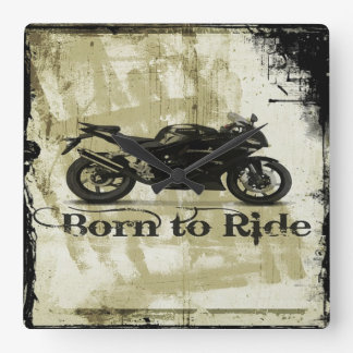 Born To Ride Square Wall Clock