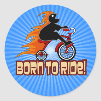 Born To Ride Tricycle Design Classic Round Sticker