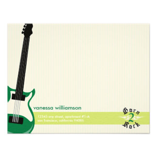 Born to Rock Custom Flat Note Cards green Personalized Announcements