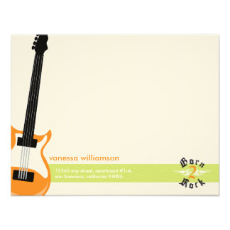 Born to Rock Custom Flat Note Cards orange Personalized Invitations