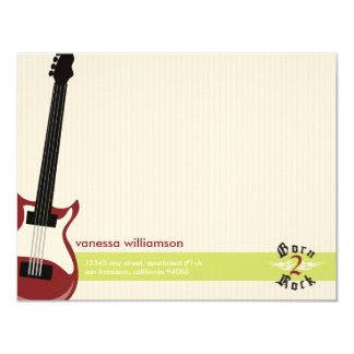 """Born to Rock! Custom Flat Note Cards (red) 4.25"""" X 5.5"""" Invitation Card"""