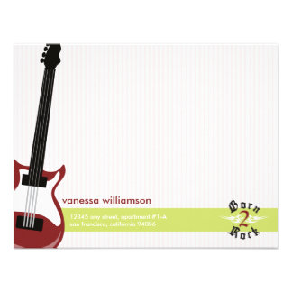 Born to Rock Custom Flat Note Cards red Custom Invites