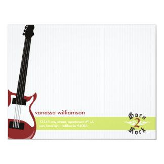 Born to Rock! Custom Flat Note Cards (red) Custom Invites
