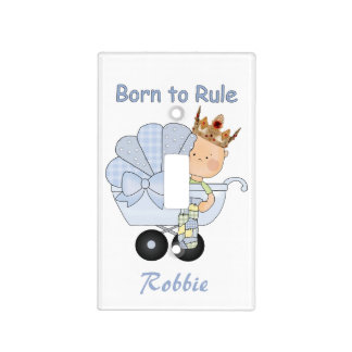 Born to Rule-Baby Boy in Golden Crown+Personalize Light Switch Cover