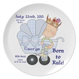 Born to Rule- Prince George in Pram/birthday info. Dinner Plate