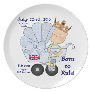 Born to Rule-Royal Prince in Pram/birthday info. Plate