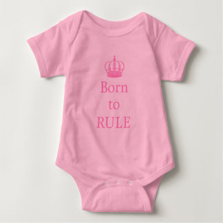 Born to rule, text design with pink crown for baby baby bodysuit