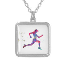 Born to run silver plated necklace