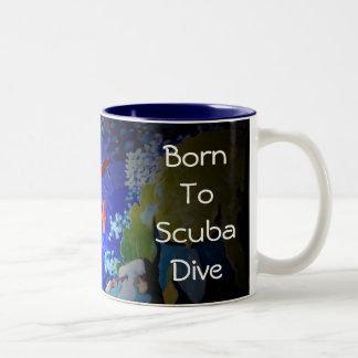 Born To Scuba Dive Two-Tone Coffee Mug