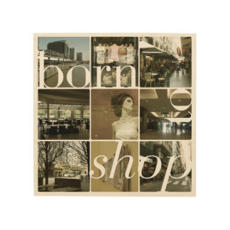 Born To Shop Wood Canvas Print