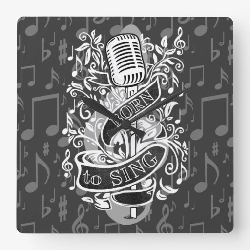 Born To Sing Gifts for the home Square Wall Clocks