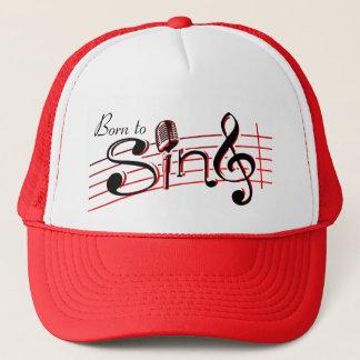 Born to sing retro mic clef graphic hat