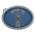 Born to Ski Oval Belt Buckles