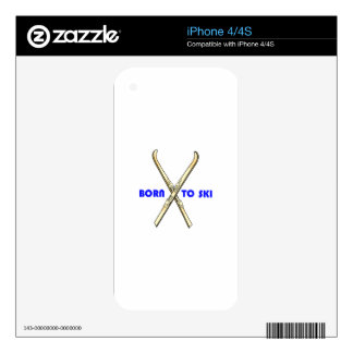BORN TO SKI SKIN FOR iPhone 4S