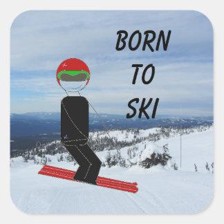 Born to Snow Ski Square Sticker
