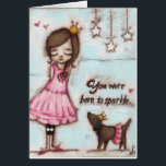 """Born to Sparkle - Birthday Card<br><div class=""""desc"""">Some people just sparkle.  They deserve a dazzling birthday! Featuring my original artwork,  &quot;Born to Sparkle&quot;. &#169;studiodudaart</div>"""