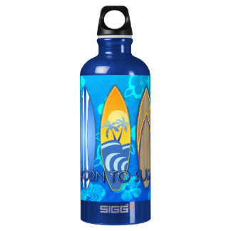 Born To Surf Aluminum Water Bottle