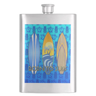 Born To Surf Blue Tiki Hip Flask