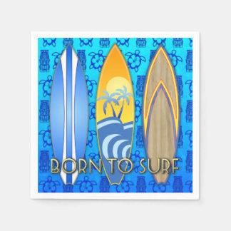 Born To Surf Blue Tiki Standard Cocktail Napkin