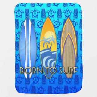 Born To Surf Blue Tiki Stroller Blanket