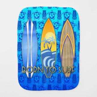 Born To Surf Blue Tiki Burp Cloth