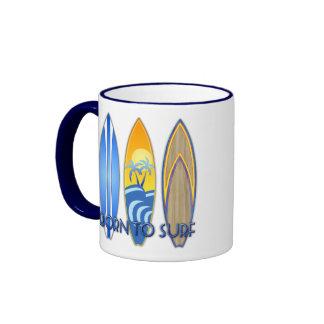 Born To Surf Ringer Coffee Mug