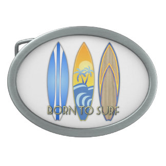 Born To Surf Oval Belt Buckle
