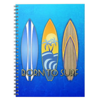 Born To Surf Spiral Notebook