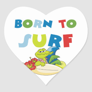 Born to Surf T-shirts and Gifts Heart Stickers