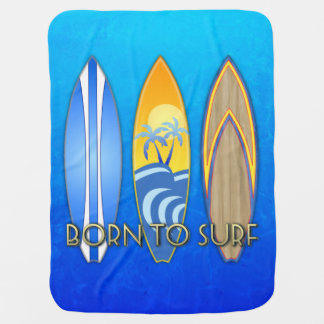 Born To Surf Receiving Blanket