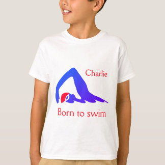 Born to swim, boy's, blue, with your name T-Shirt